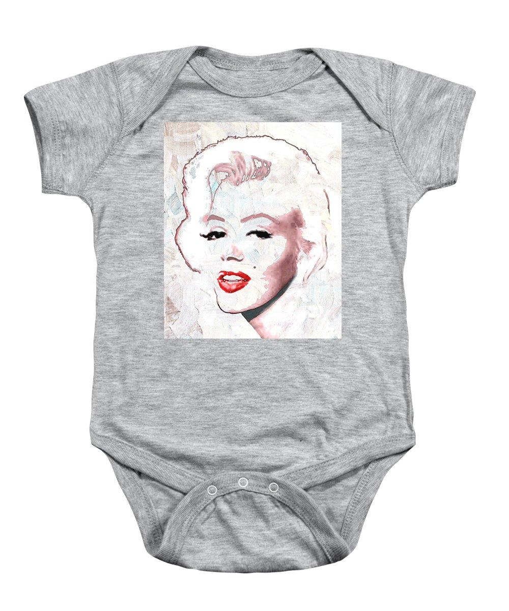 Marilyn Monroe Baby Onesie featuring the digital art Marilyn Monroe by Linda Mears