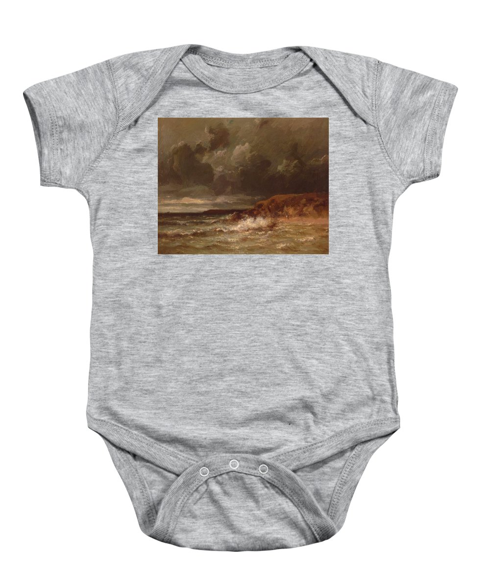 Marine Baby Onesie featuring the painting Marine Landscape The Cape And Dunes Of Saint Quentin 1870 by Dupre Jules