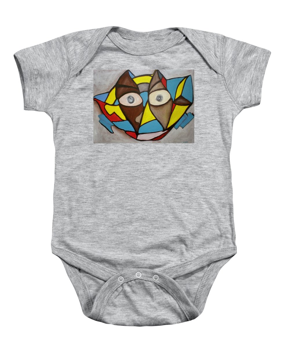 Masks Baby Onesie featuring the painting Mask by Philip Okoro