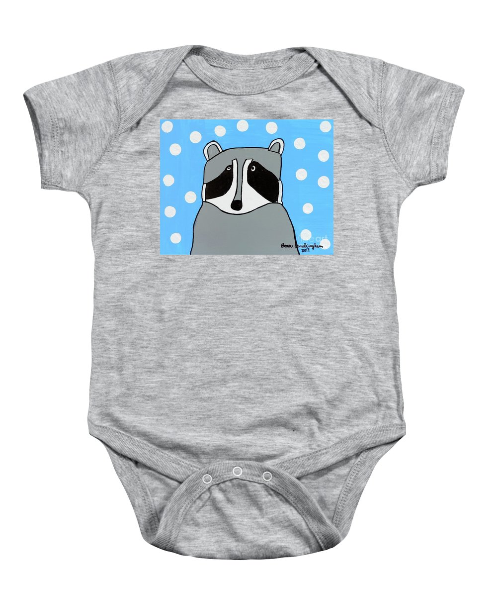 Raccoon Baby Onesie featuring the painting Masked Friend by Sean Brushingham