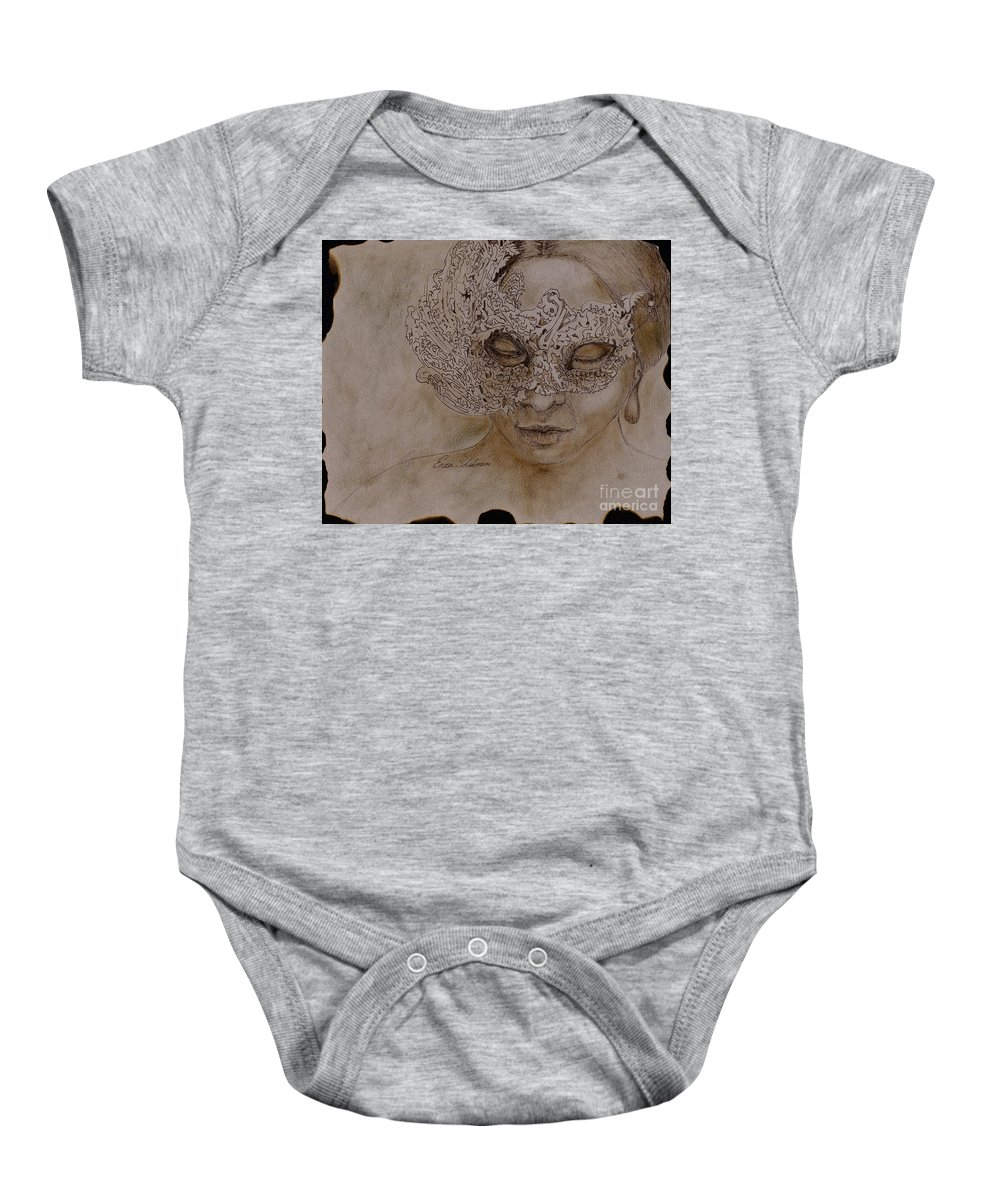 Mask Baby Onesie featuring the drawing Masquerade by Portraits By NC