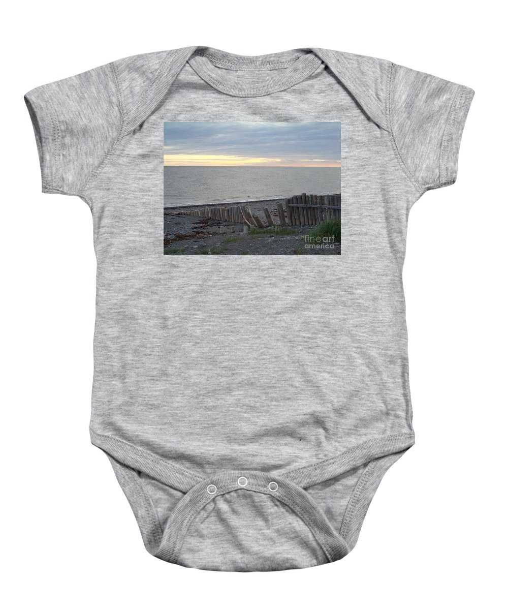 Seascape Baby Onesie featuring the photograph Matane In The Morning... by Line Gagne