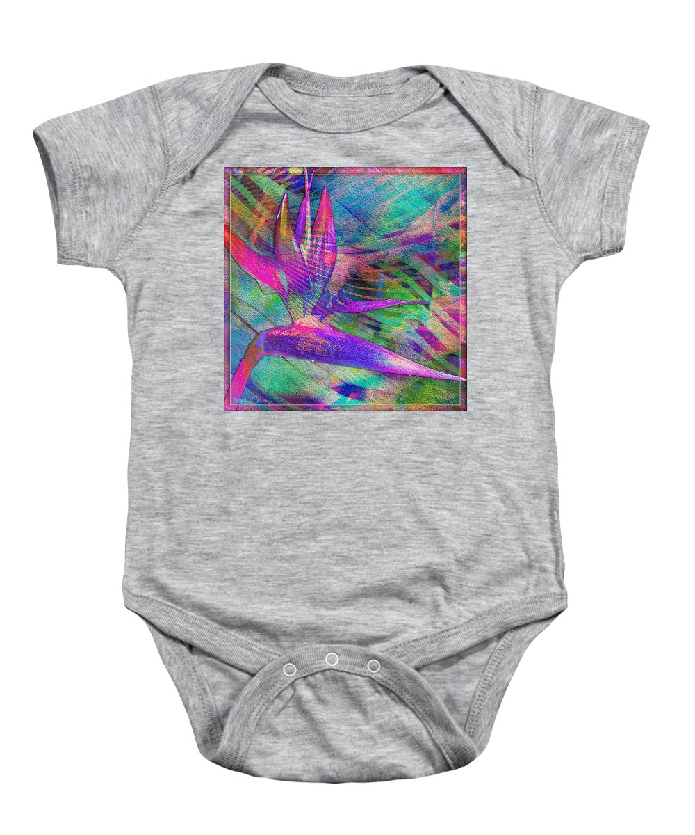 Maui Baby Onesie featuring the digital art Maui Bird Of Paradise by Barbara Berney