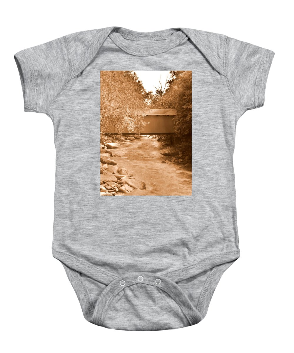 Mcconnells Mill Covered Bridge Baby Onesie featuring the photograph Mcconnells Mill Covered Bridge Sepia by Lisa Wooten