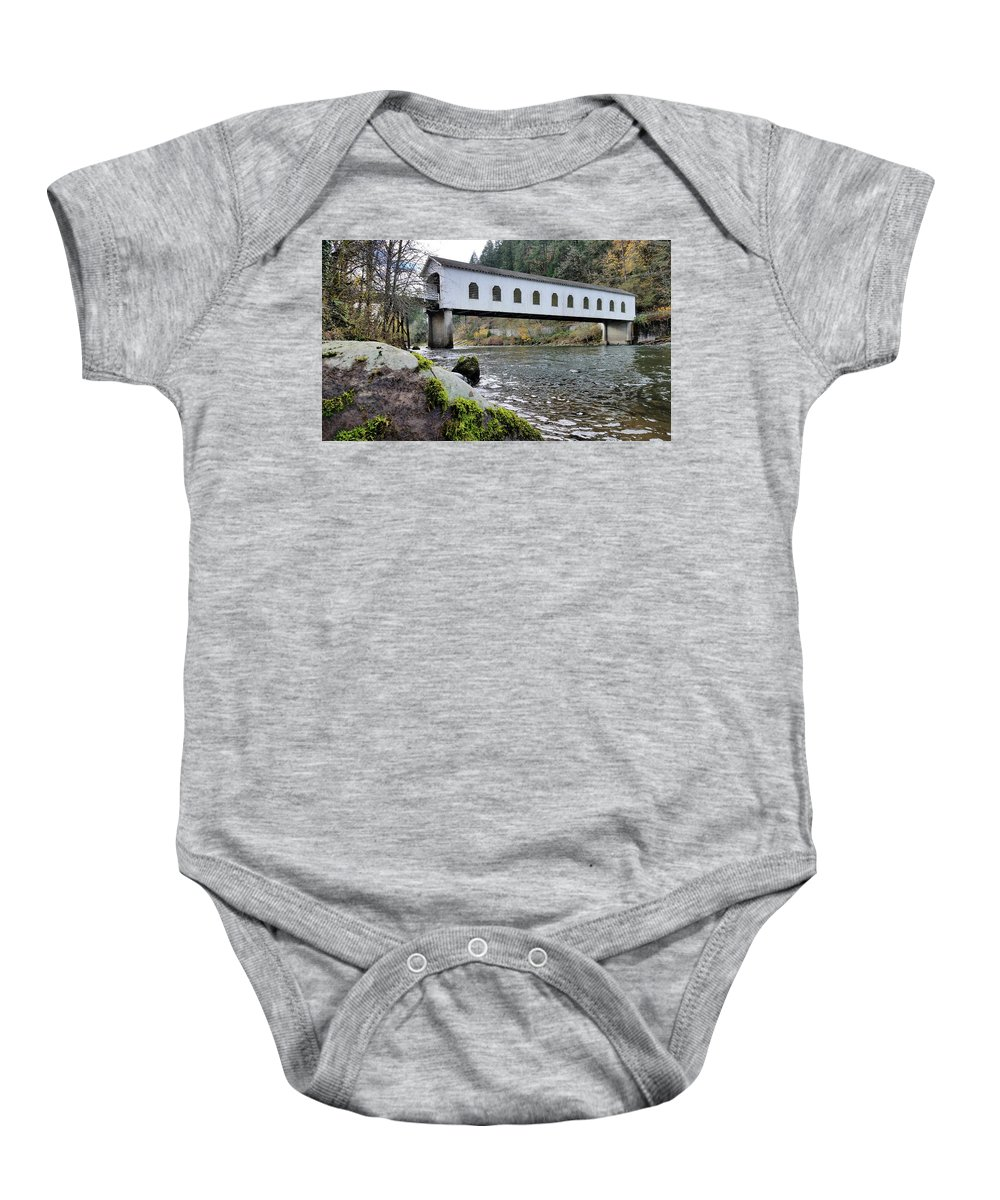 Oregon Baby Onesie featuring the photograph Mckenzie River Covered Bridge by Lindy Pollard