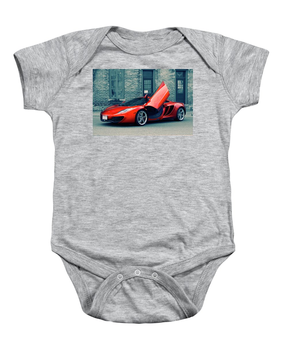 Mclaren Baby Onesie featuring the photograph Mclaren Mp4-12c by Joel Witmeyer