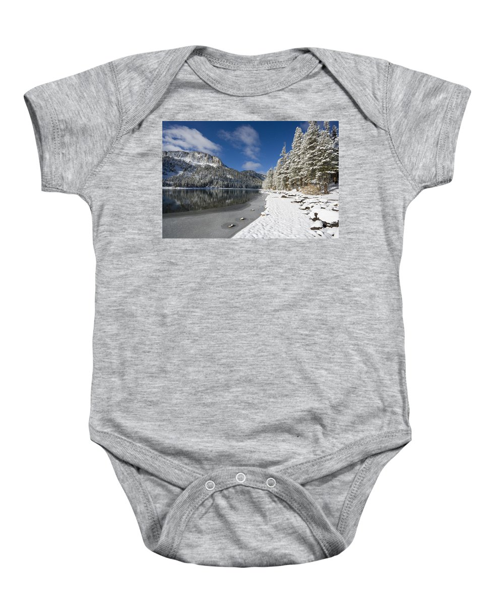 Snow Baby Onesie featuring the photograph Mcleod Lake by Kelley King
