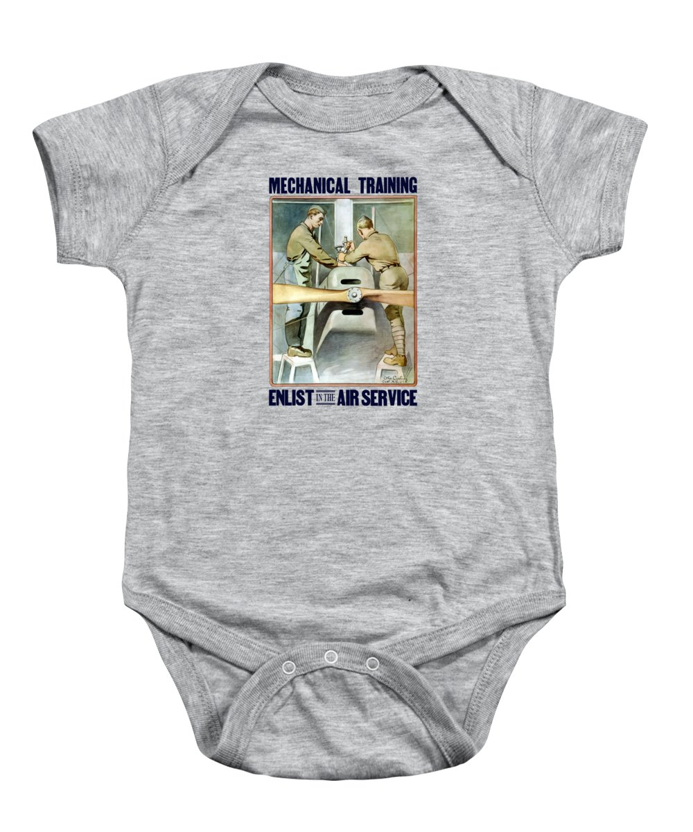Ww1 Baby Onesie featuring the painting Mechanical Training - Enlist In The Air Service by War Is Hell Store