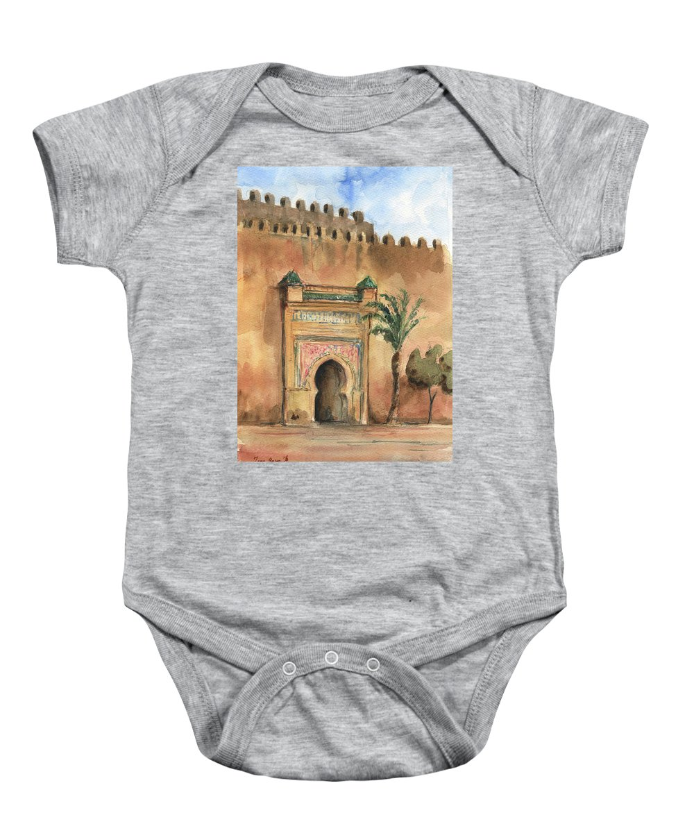 Morocco Art Baby Onesie featuring the painting Medina Morocco, by Juan Bosco