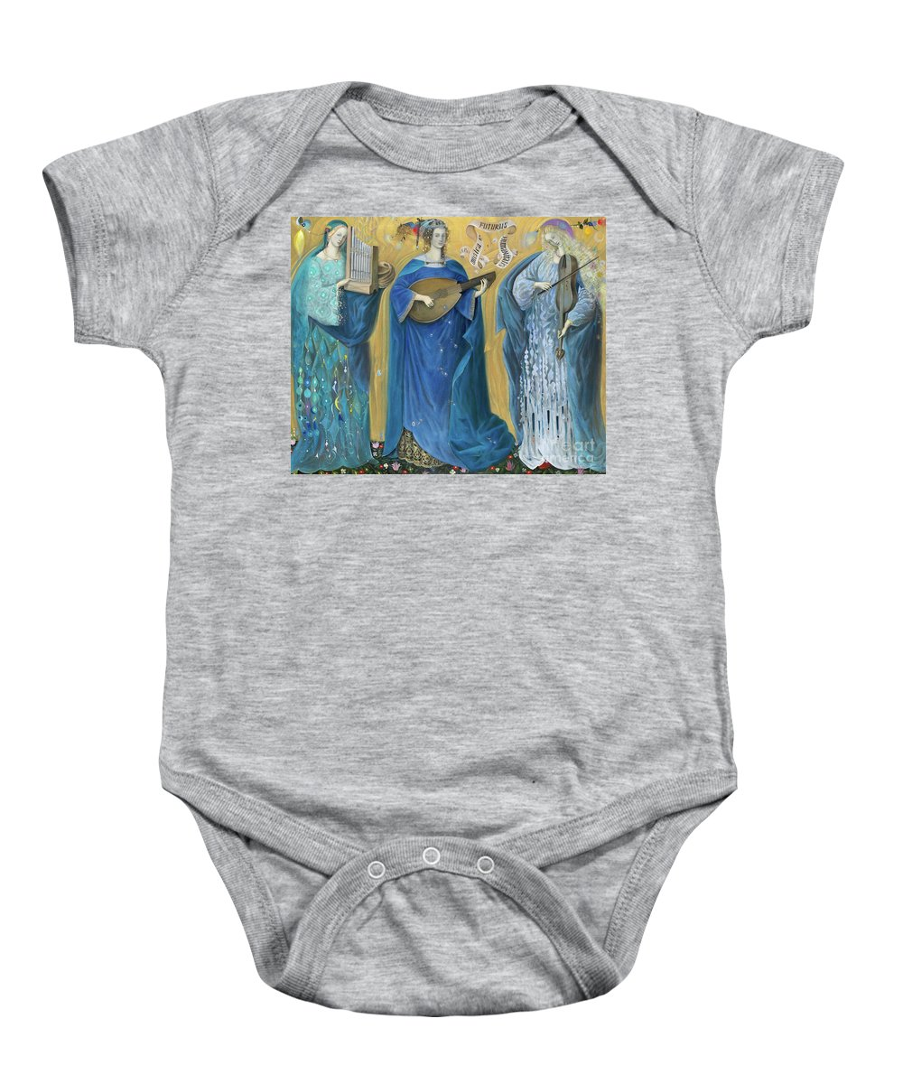 Holy Trinity Baby Onesie featuring the painting Meditations On The Holy Trinity After The Music Of Olivier Messiaen, by Annael Anelia Pavlova