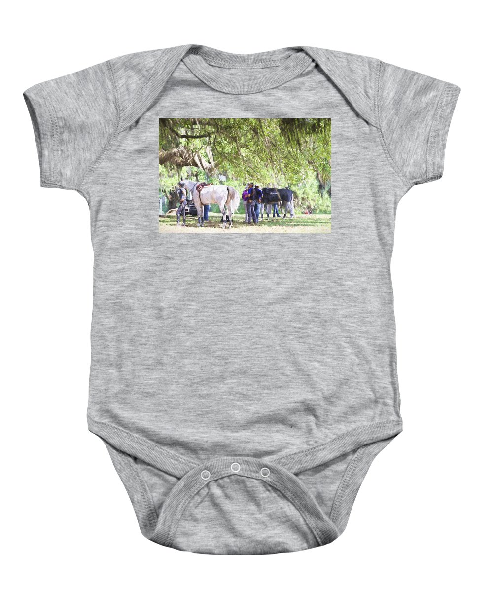 Horses Baby Onesie featuring the photograph Meet Me Under The Trees by Alice Gipson