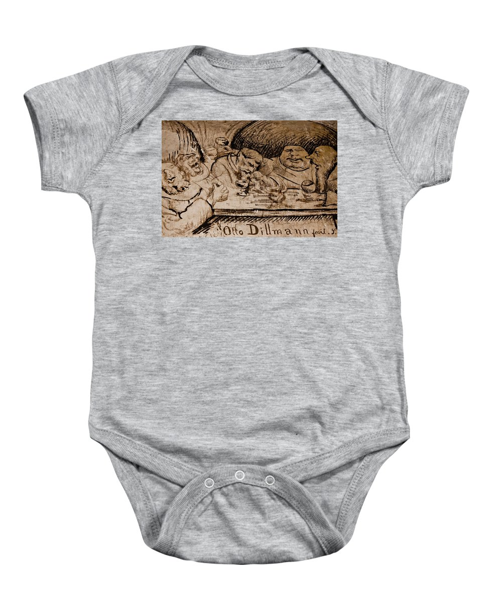 Sepia Baby Onesie featuring the photograph Meeting Of The Minds by Jill Smith