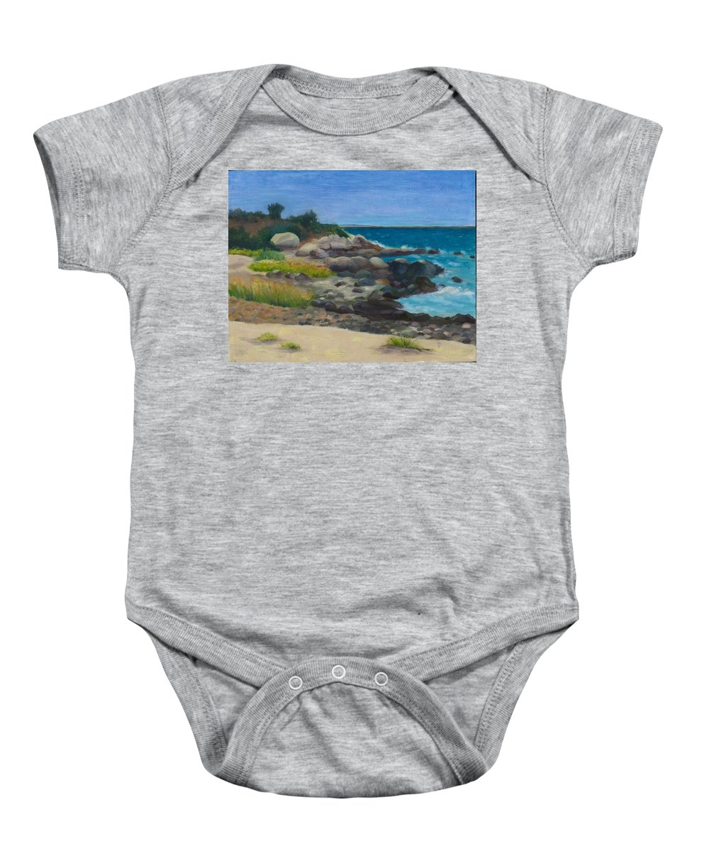Landscape Baby Onesie featuring the painting Meigs Point by Paula Emery