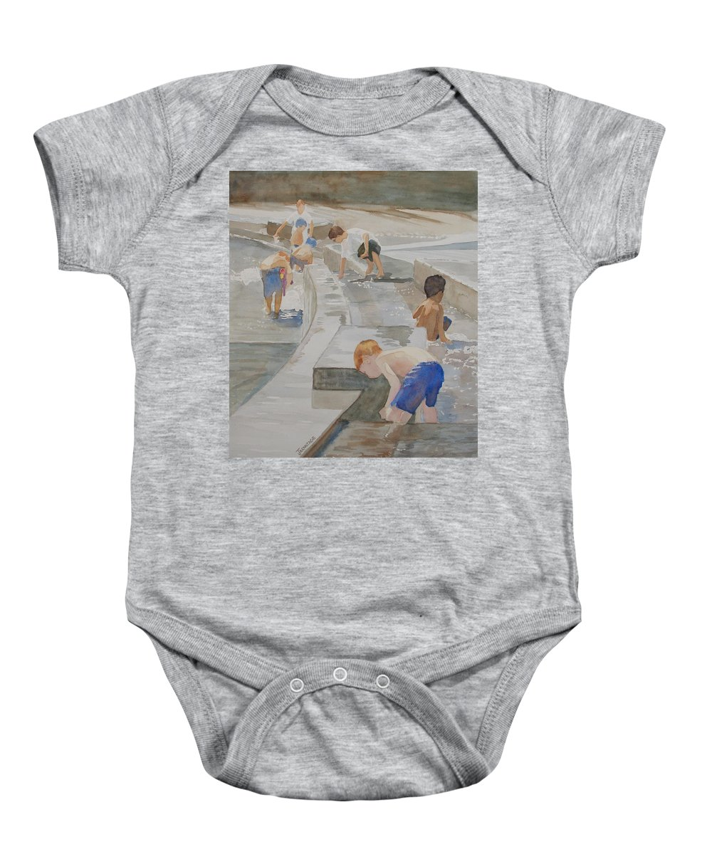 Boys Baby Onesie featuring the painting Memorial Day Waterworks by Jenny Armitage