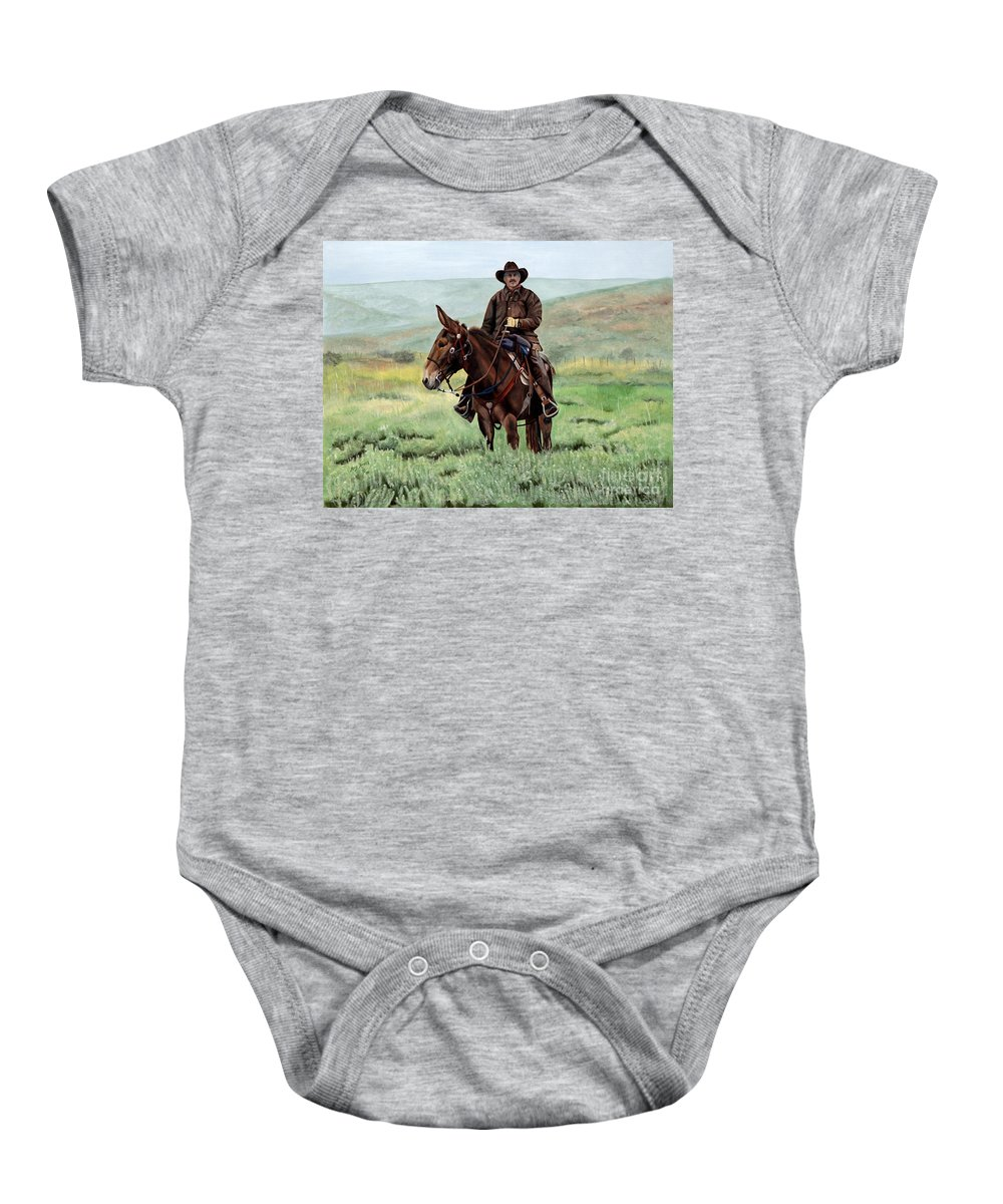 Usa Baby Onesie featuring the painting Memories Of Molly by Mary Rogers