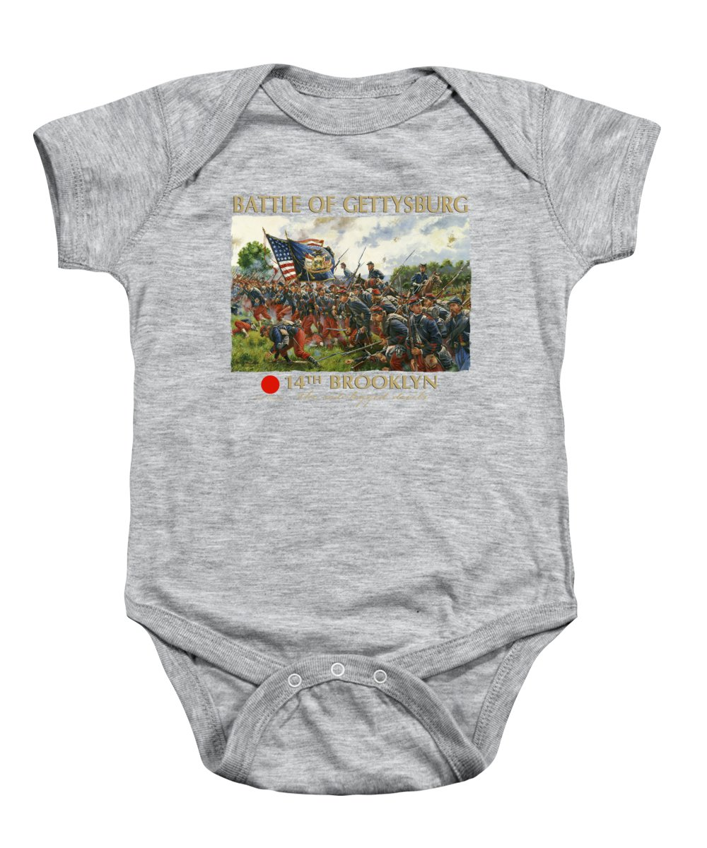 Civil Baby Onesie featuring the painting Men Of Brooklyn - The 14th Brooklyn 14th N.y.s.m. Charge On The Railrad Cut - Battle Of Gettysburg by Mark Maritato