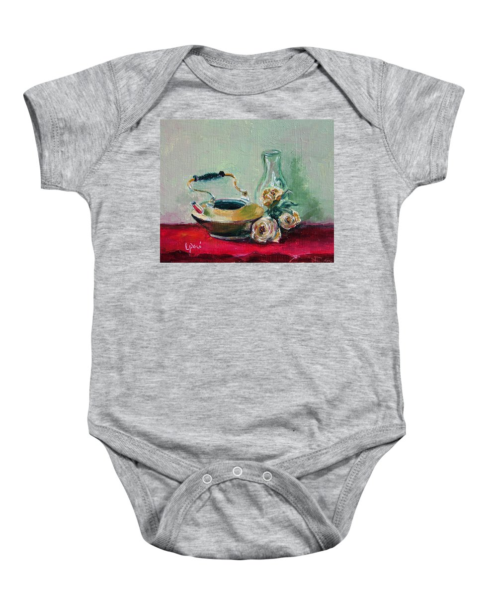 Still Life Baby Onesie featuring the painting Menage A Trois by Laurie Paci