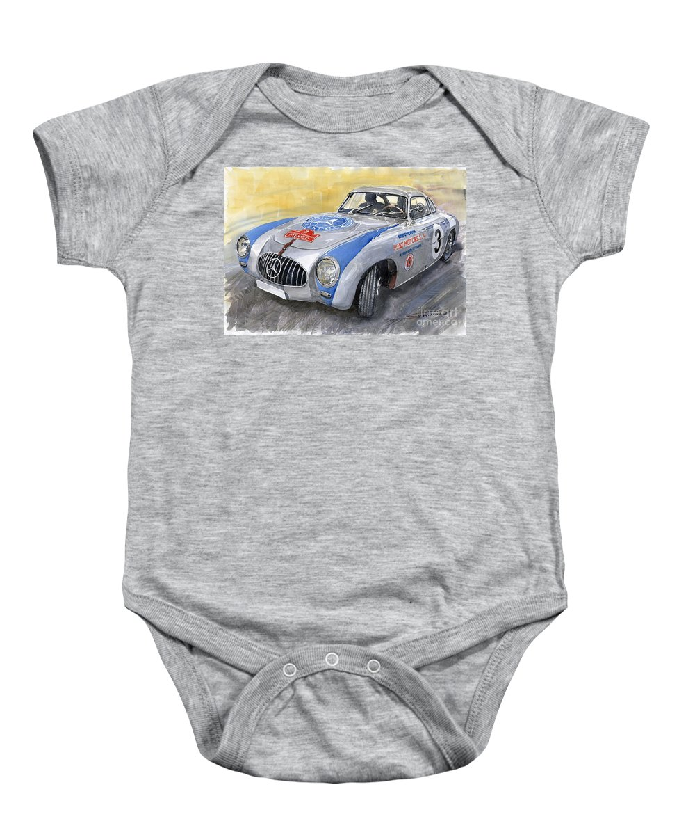 Automotive Baby Onesie featuring the painting Mercedes Benz 300 Sl 1952 Carrera Panamericana Mexico by Yuriy Shevchuk