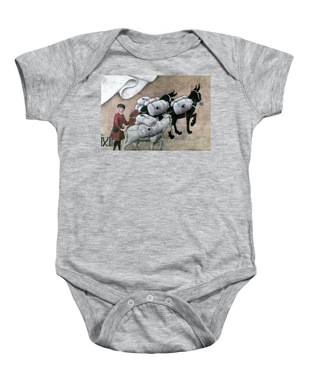 15th Century Baby Onesie featuring the photograph Merchant With Mule, 15th C by Granger
