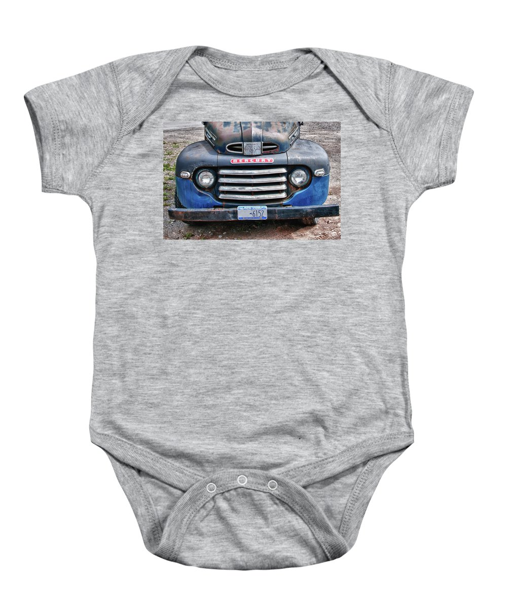 Antique Car Baby Onesie featuring the photograph Mercury 2234 by Guy Whiteley