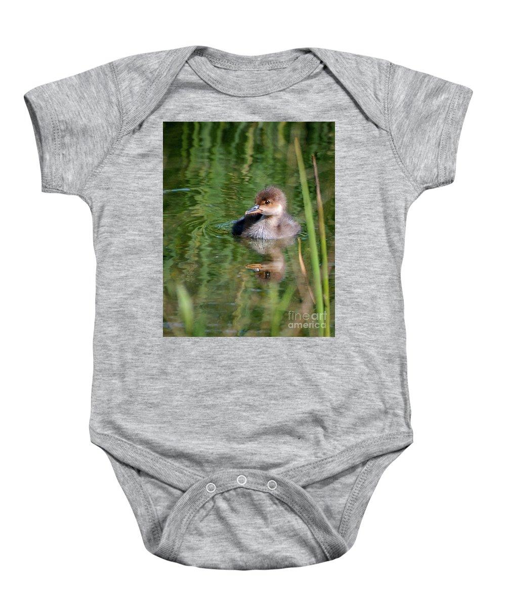 Merganser Baby Onesie featuring the photograph Merganser Duckling by Amy Porter