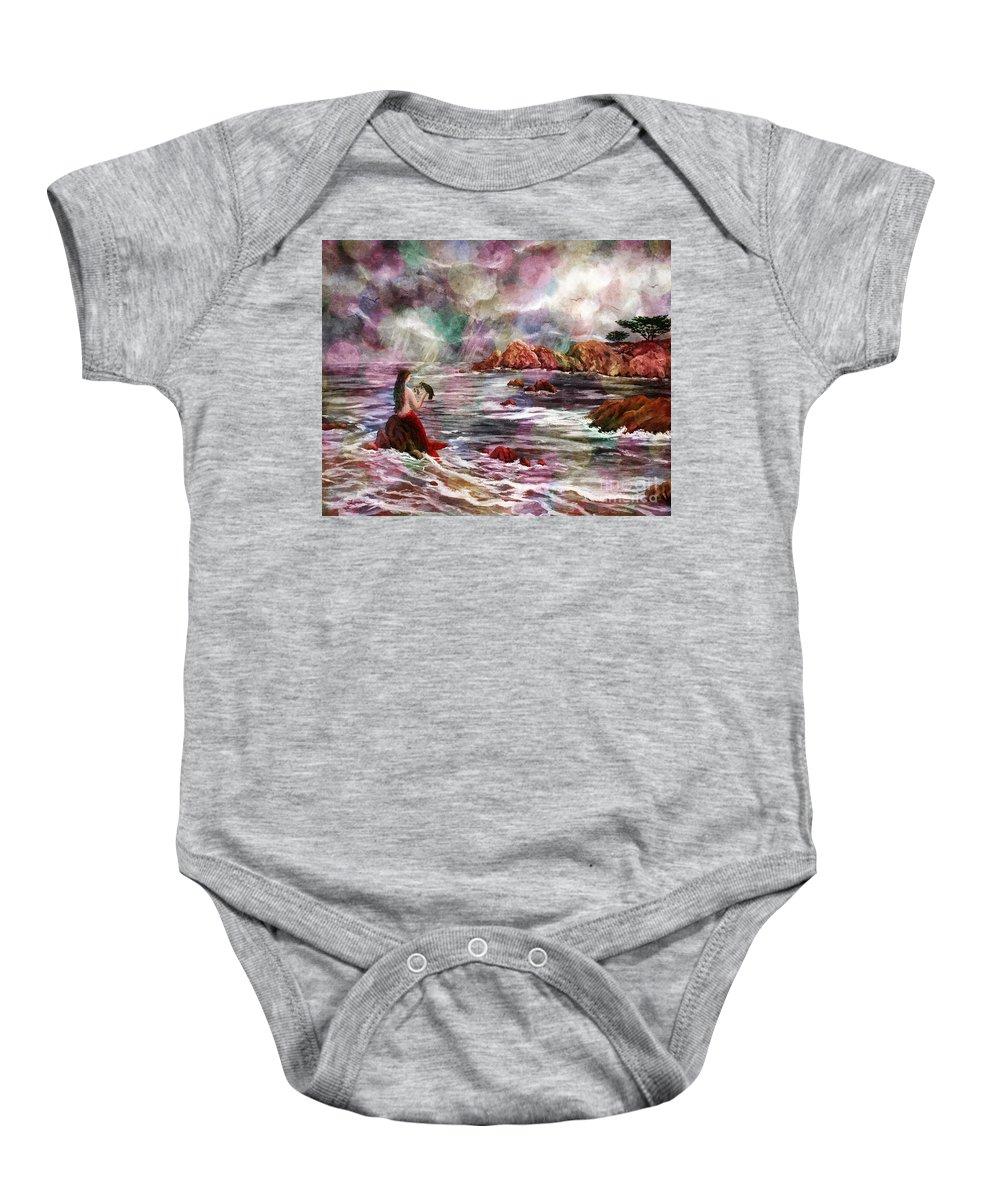 Dreamy Baby Onesie featuring the digital art Mermaid In Rainbow Raindrops by Laura Iverson