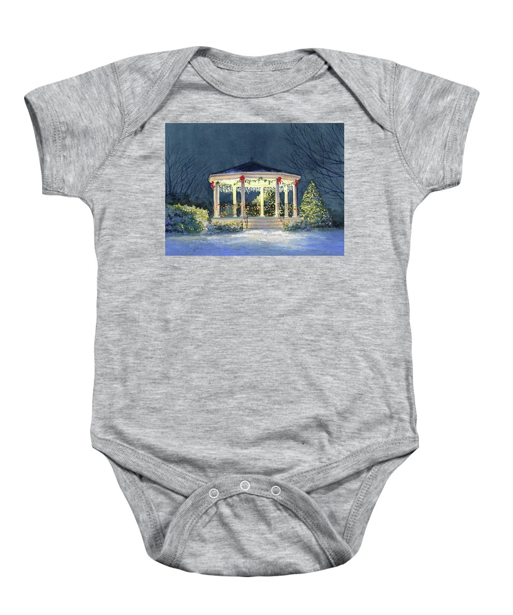 Christmas Baby Onesie featuring the painting Merry And Bright II by Vikki Bouffard