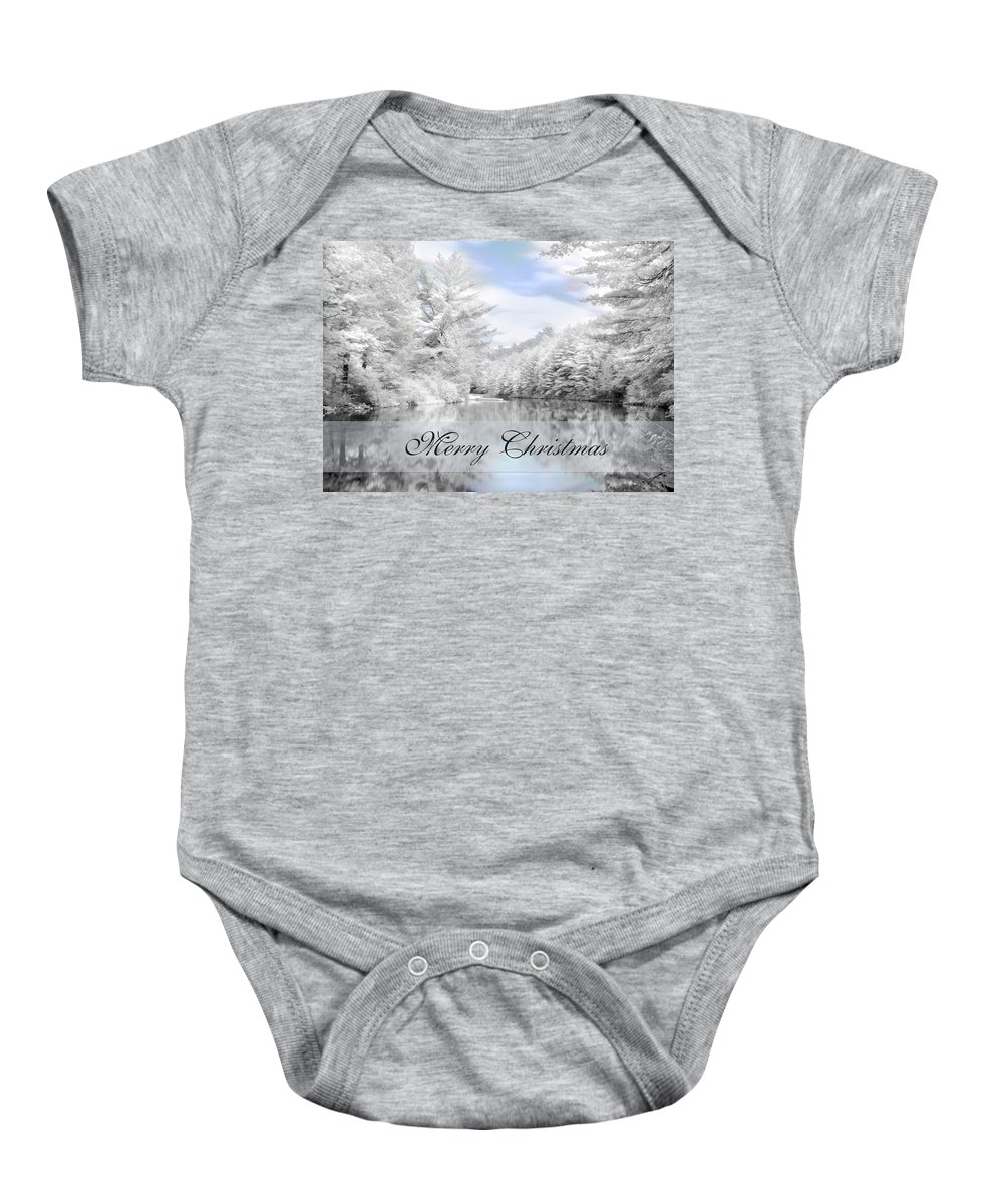 Merry Christmas Baby Onesie featuring the photograph Merry Christmas - Lykens Reservoir by Lori Deiter