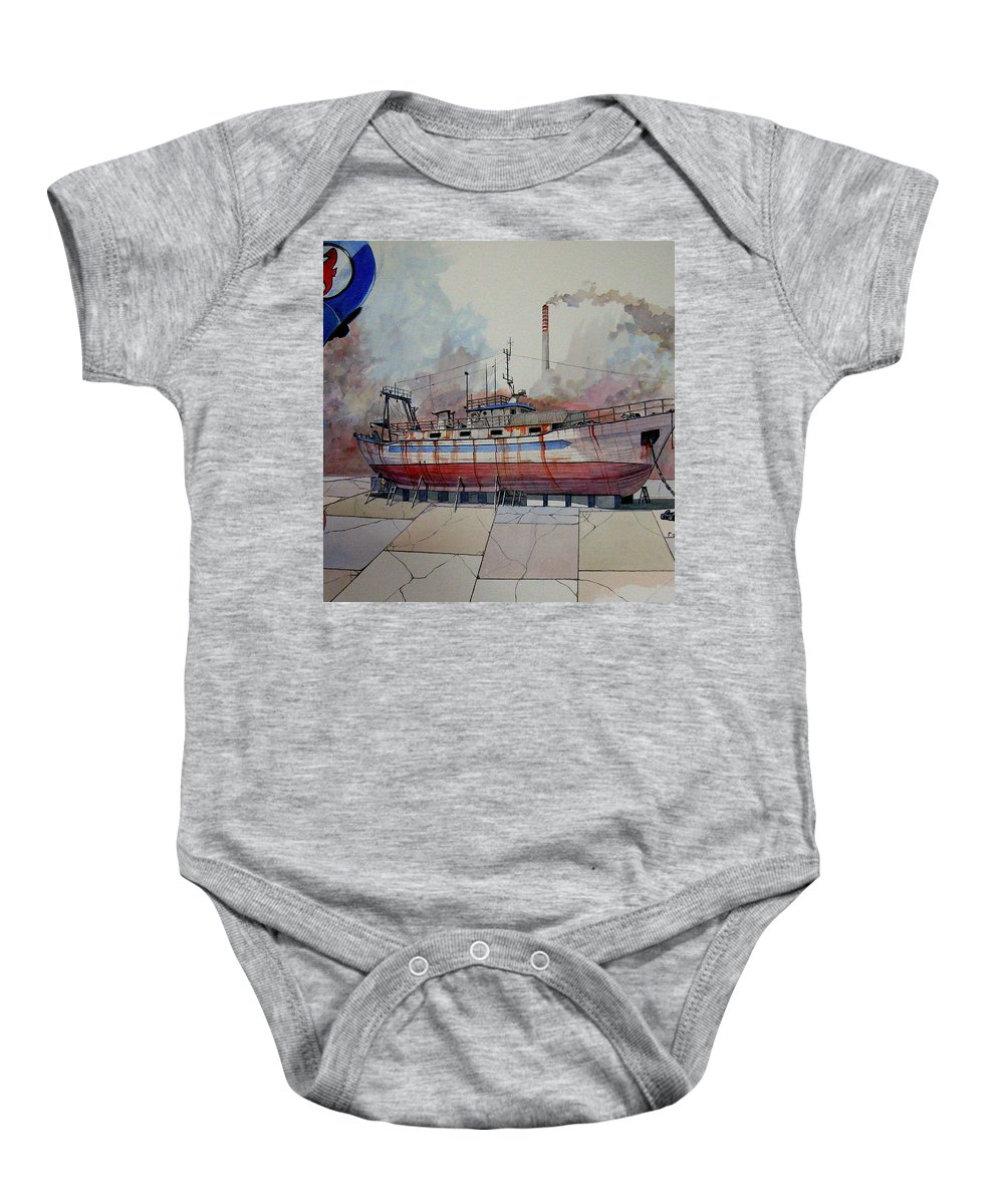Fishing Baby Onesie featuring the painting Mfv Kalees by Ray Agius