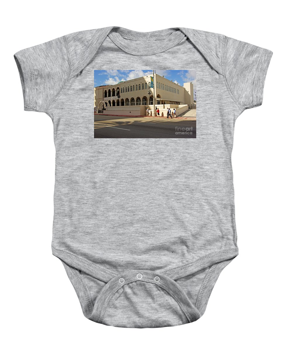 Synagogue Baby Onesie featuring the photograph Miami Beach Synagogue Saturday Morning by Zal Latzkovich