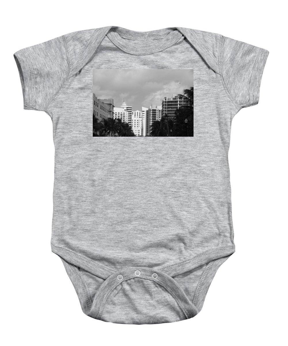 Black And White Baby Onesie featuring the photograph Miami Sky by Rob Hans