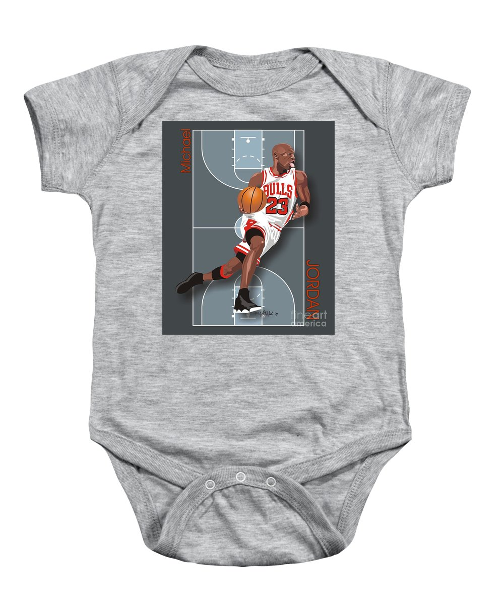 Portraits Baby Onesie featuring the digital art Michael Jordan, No. 23 by Walter Oliver Neal