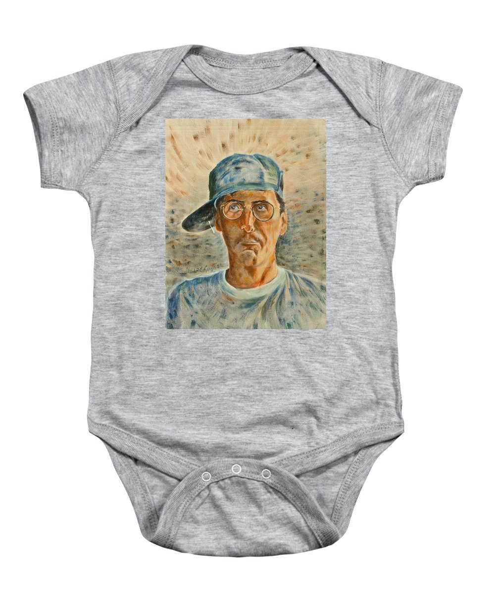 Man Baby Onesie featuring the painting Michel Pauze by Claire Gagnon
