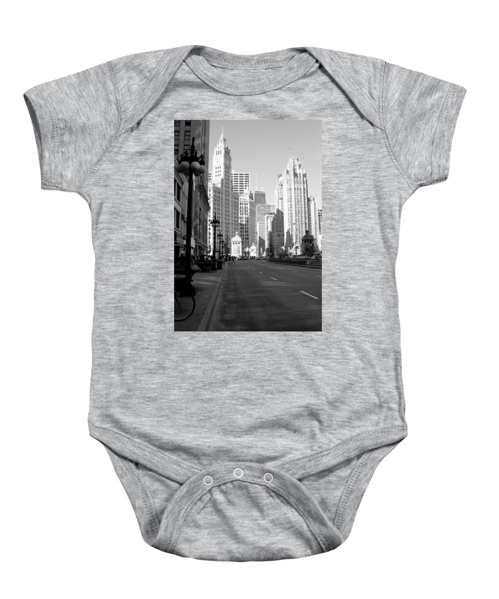 Chicago Baby Onesie featuring the photograph Michigan Ave Tall B-w by Anita Burgermeister