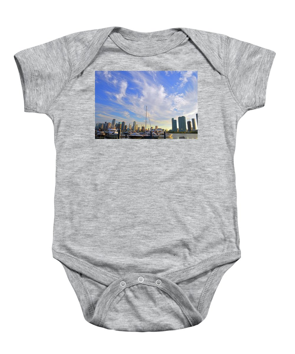 Delray Baby Onesie featuring the photograph Midday In Miami by Ken Figurski