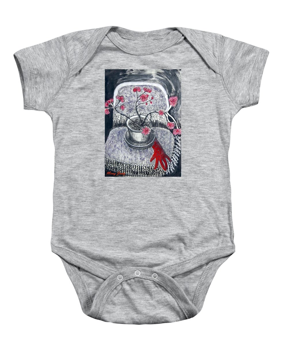 Chair Baby Onesie featuring the painting Midnight Geraniums by Minaz Jantz