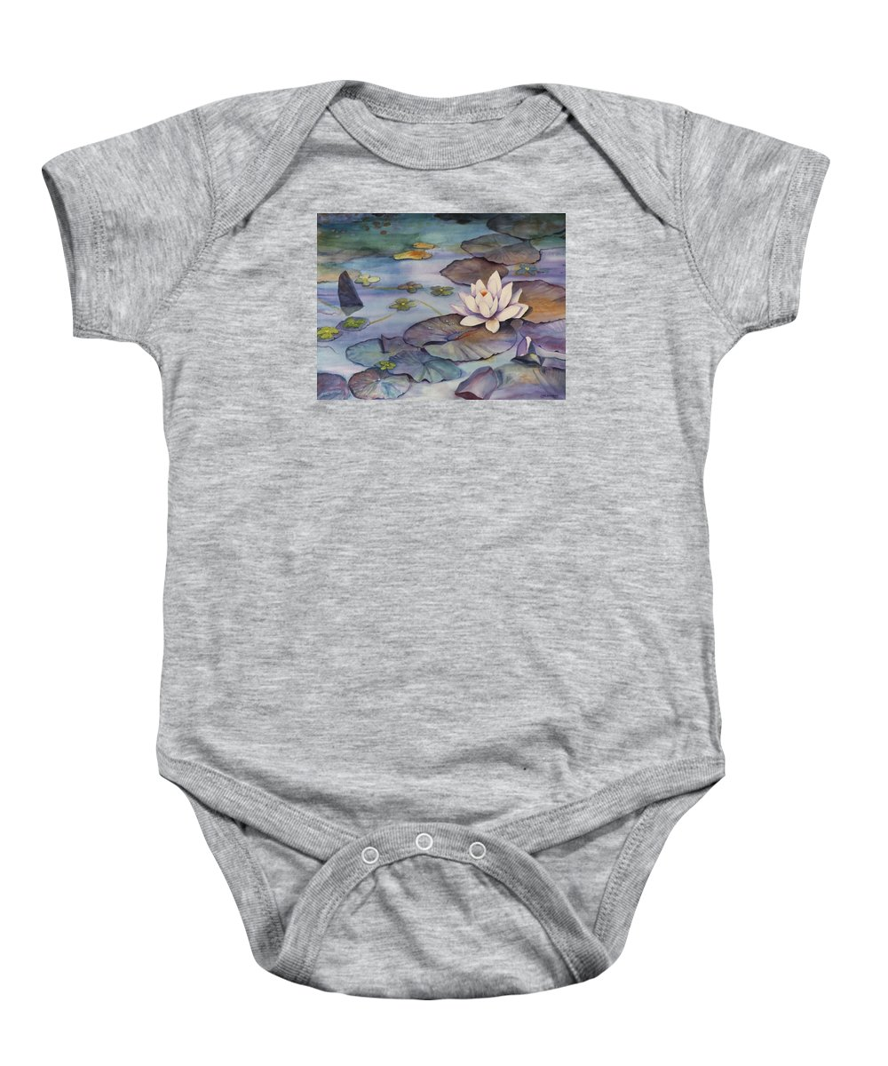 Lily Baby Onesie featuring the painting Midnight Lily by Jun Jamosmos