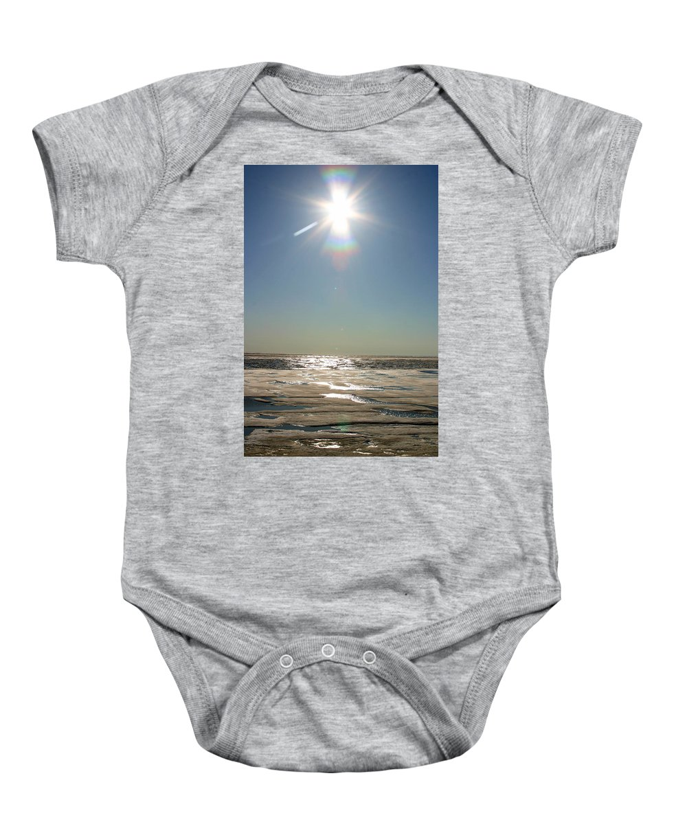 Arctic Baby Onesie featuring the photograph Midnight Sun Over The Arctic by Anthony Jones