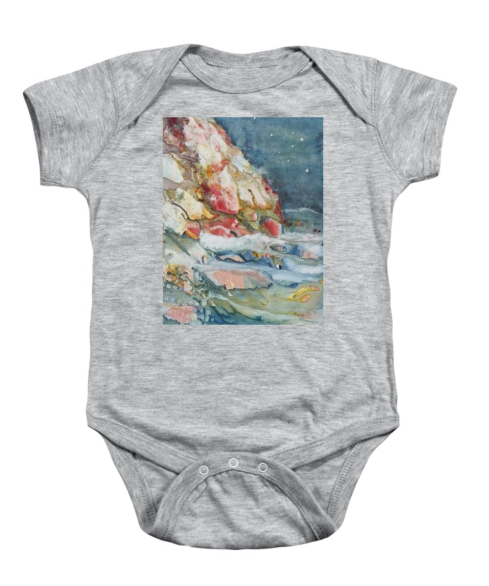 Abstract Baby Onesie featuring the painting Midnight Surf by Ruth Kamenev