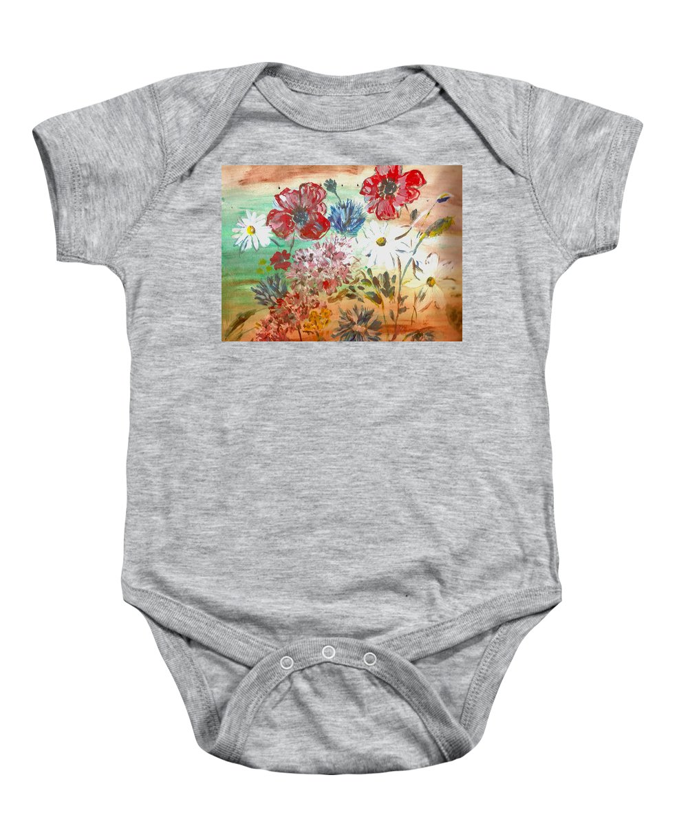 Flowers Baby Onesie featuring the painting Midsummer Delight by Pepita Selles