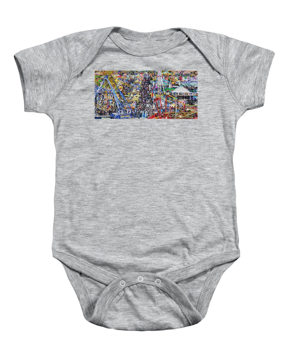 State Fair Baby Onesie featuring the painting Midway Fun by David Lee Thompson