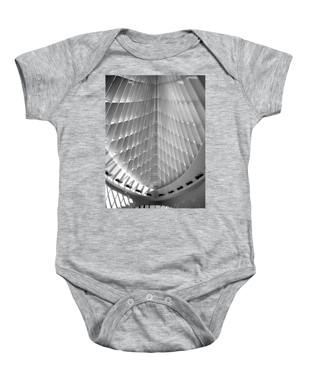 Mam Baby Onesie featuring the photograph Milwaukee Art Museum Interior B-w by Anita Burgermeister