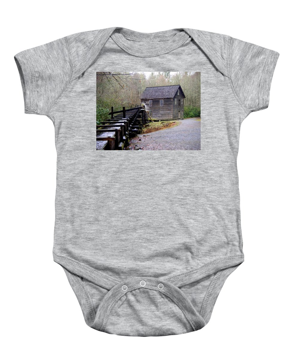 Great Smokey Mountain National Park Baby Onesie featuring the photograph Mingus Mill by Marty Koch