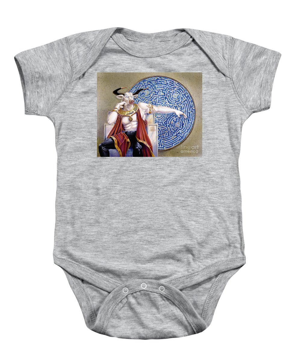 Anthropomorphic Baby Onesie featuring the painting Minotaur With Mosaic by Melissa A Benson