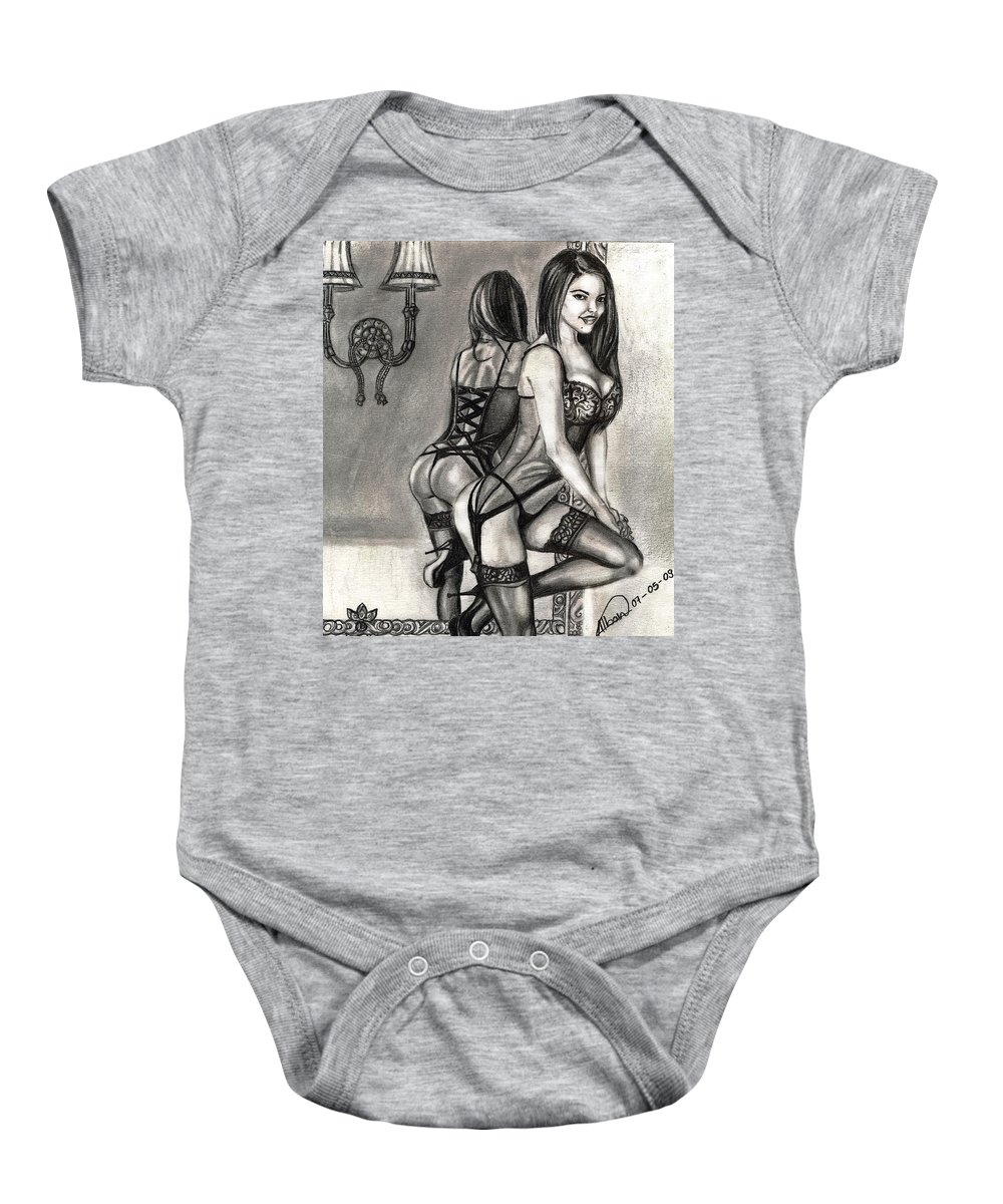 Pencil Dawing Baby Onesie featuring the drawing Mirror Reflection Model by Alban Dizdari