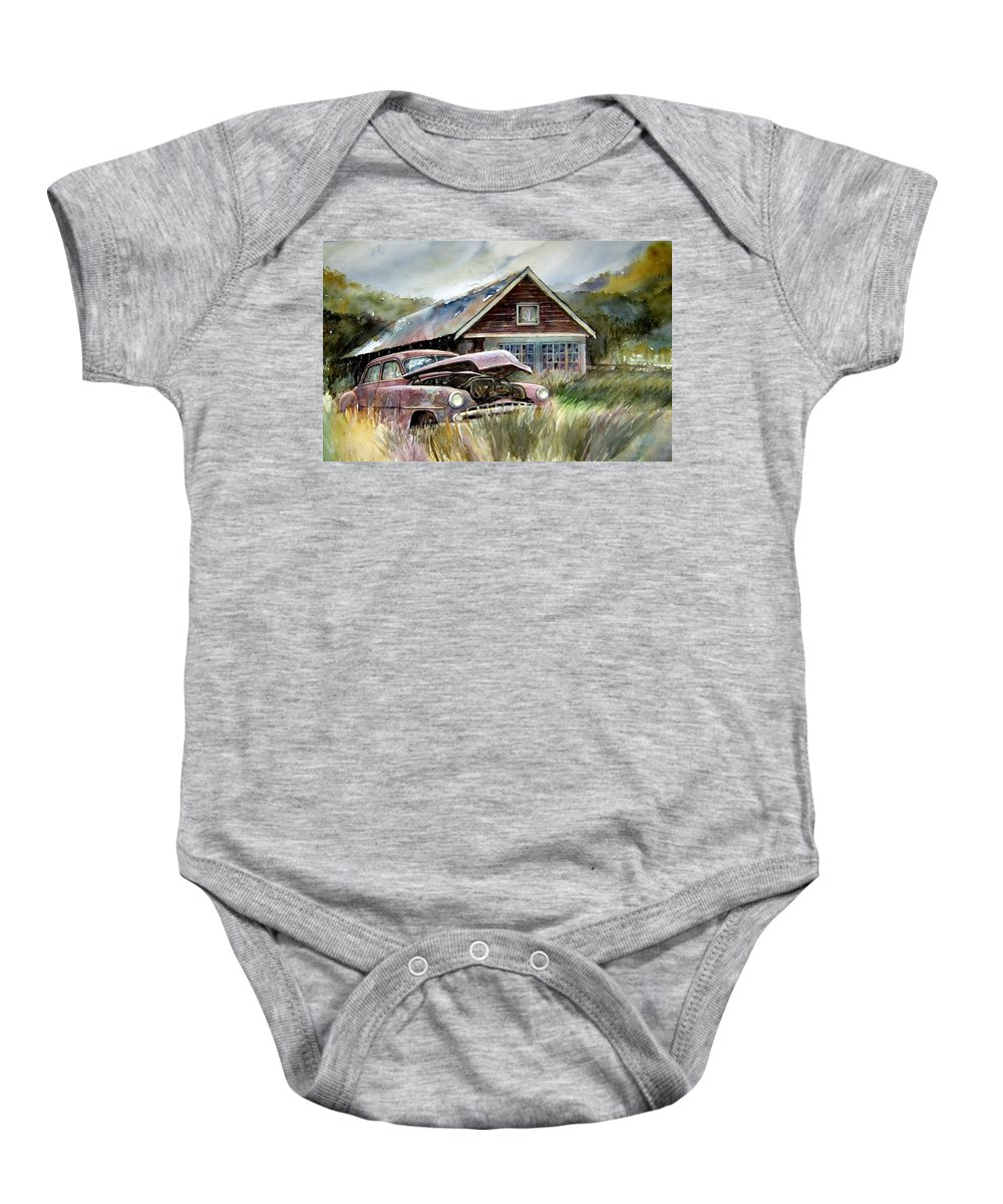 Car House Baby Onesie featuring the painting Miss Wilson's House by Ron Morrison