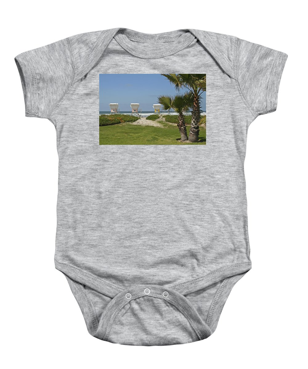 Beach Baby Onesie featuring the photograph Mission Beach Shelters by Margie Wildblood