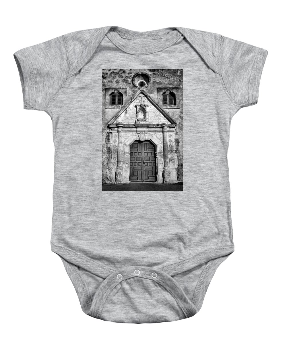 Texas Baby Onesie featuring the photograph Mission Concepcion Entrance - Bw by Stephen Stookey