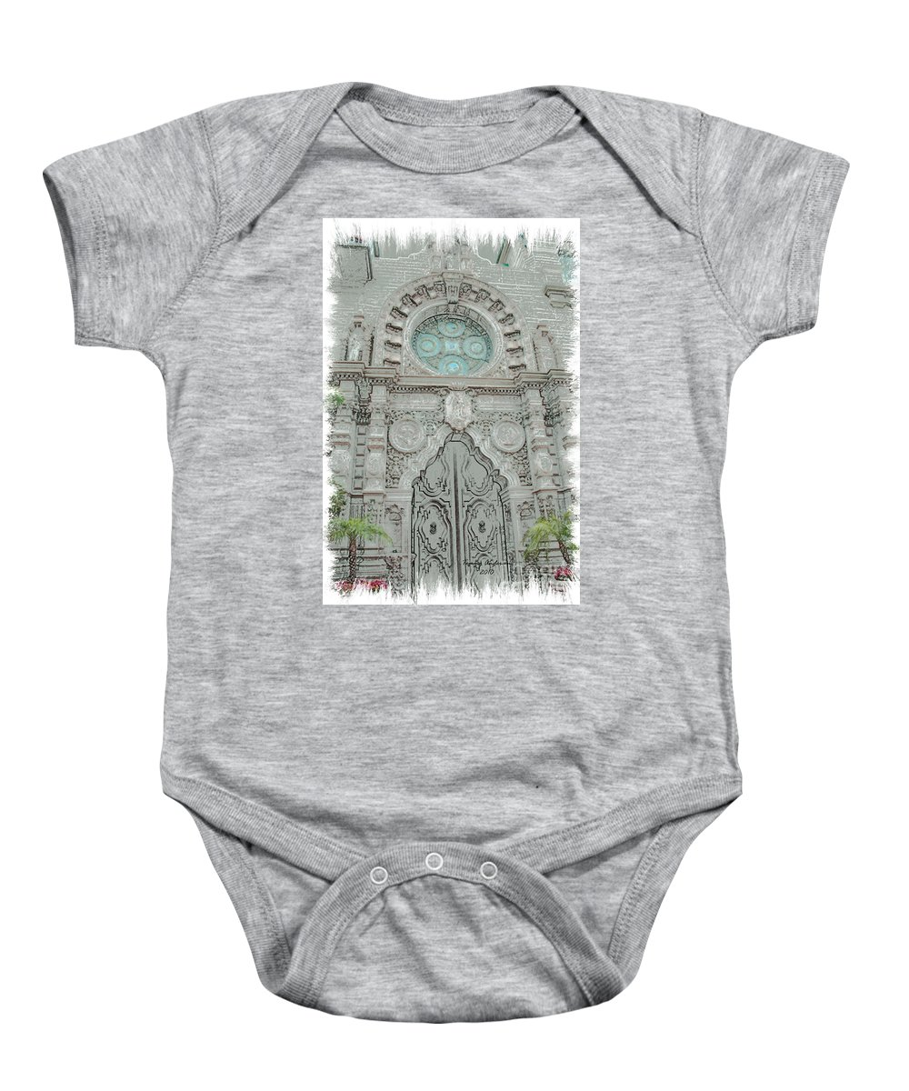Mission Inn Baby Onesie featuring the digital art Mission Inn Chapel Door by Tommy Anderson
