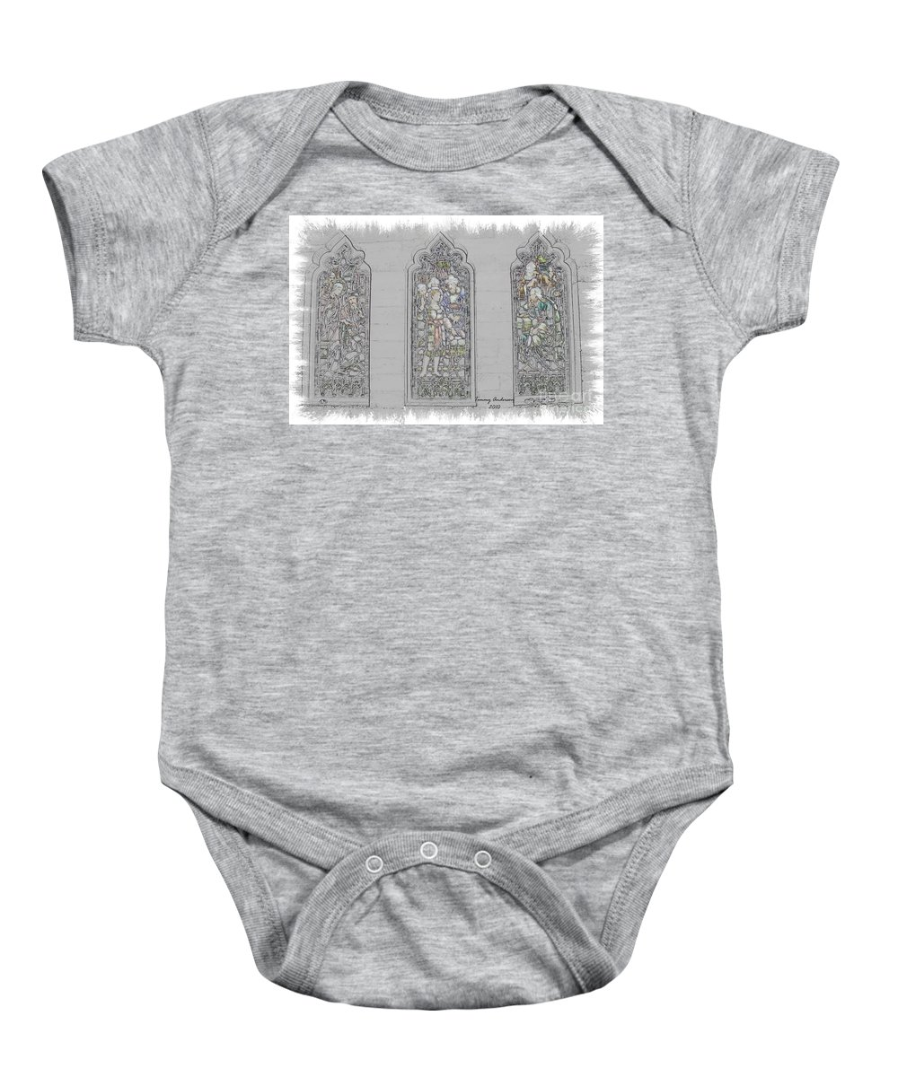 Mission Inn Baby Onesie featuring the digital art Mission Inn Chapel Stained Glass by Tommy Anderson